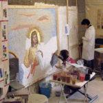 allievi al corso di mosaico bizantino