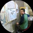Laurent allievo del corso di mosaico moderno